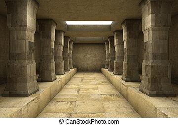 een, lang, gang, met, kolommen