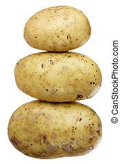 een, liggen, van, drie, aardappels