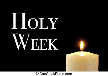 een, lit kaars, en, de, tekst, heilig, week