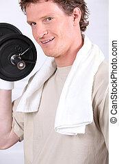 een, man, doen, fitness, met, dumbbell