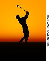 een, man, gedresseerd, een, golf, swing.