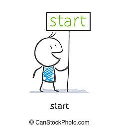 een, man, houden, een, meldingsbord, start