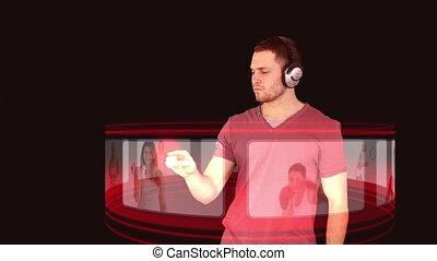 een, man, met, headphones