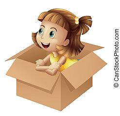een, meisje, in, een, doosje