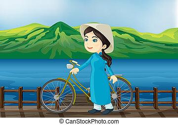 een, meisje, met, fiets, op, een, bankje