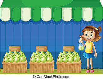 een, meisje, op, de, fruit, markt