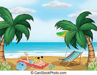 een, meisje, relaxen, aan het strand