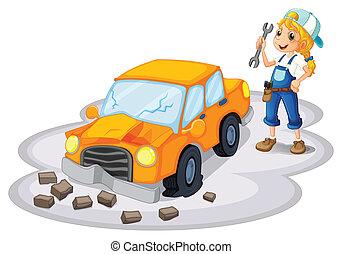 een, meisje, repareren, een, kapot, auto