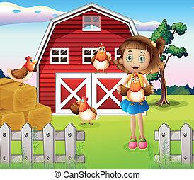 een, meisje, vasthouden, een, chicken, op, de, boerderij