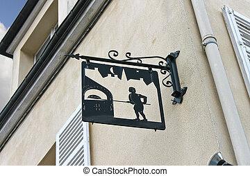 een, meldingsbord, op, de, voorkant, van, de, woning, in, chartres, frankrijk
