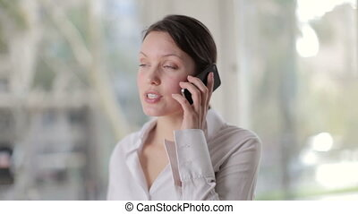 een, mooi, businesswoman, in, office/work, toestand, op de...
