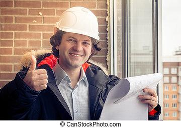 een, mooi, de arbeider van de bouw, geven, een, duim-omhoog, teken., authentiek, de arbeider van de bouw, op, daadwerkelijk, bouwsector, plaats., zachte focus, toned.