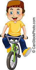 een, moslim, jongen, rijdende fiets