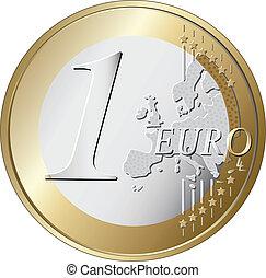 een, munt, vector, illustratie, eurobiljet