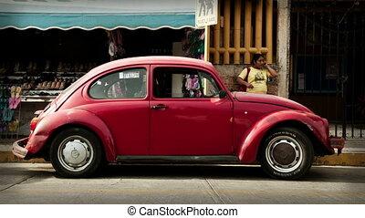 een, opeenvolging, van, 500, volkswagen beetle, auto's,...