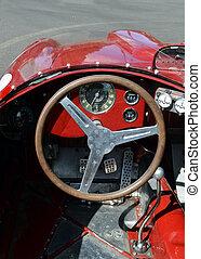 een, oud, auto binnenkante