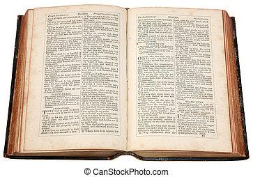 een, oud, bijbel, gepubliceerde, in, 1868.