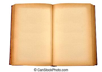 een, oud, boek, met, leeg, gele, bevlekte, pagina's