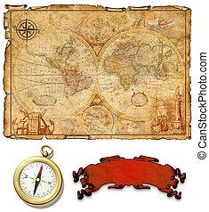een, oud, kaart, met, compass.