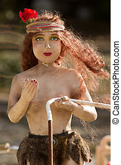 een, oud, plastic, standbeeld, van, een, vrouw