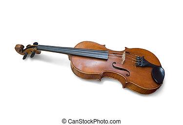 een, oud, viool, op, white., vrijstaand, met, knippend pad