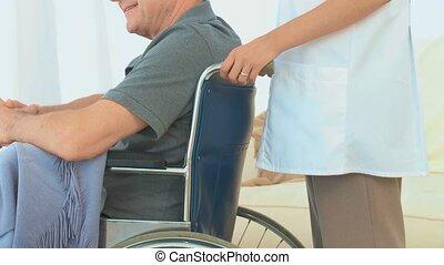 een, patiënt, in, een, wheelchair