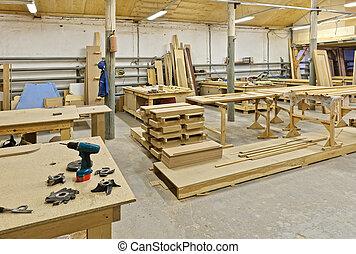 een, plant, voor, productiewerk, van, meubel