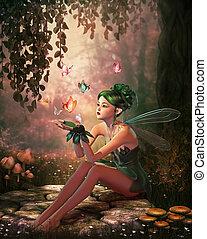 een, plek, van, vlinder, 3d, cg