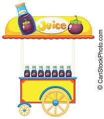 een, pushcart, het verkopen, fruitsap