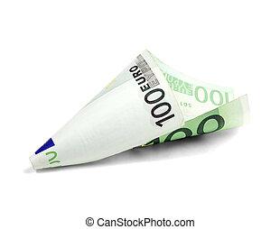 een, rekening, eurobiljet, undred