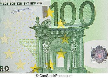 een, rekening, van, een honderd, eurobiljetten