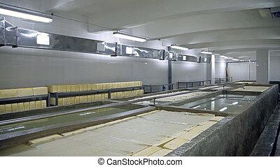een, reservoir, met, zout water, voor, vervaardiging, kaas