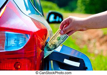 een, reservoir, zet, auto, dollars, gas, hand, vrouwlijk, honderd