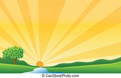 een, rivier, en, een, zon