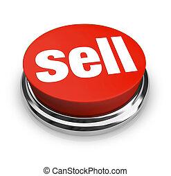 een, rode knoop, met, de, woord, verkopen, op,...