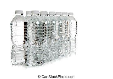 een, roeien, van, drinkwater, flessen, op wit