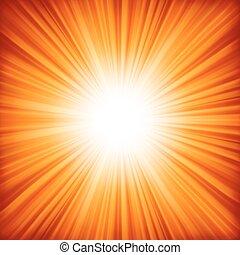 een, rood, -, oranje kleur, ontwerp, met, een, burst., eps,...