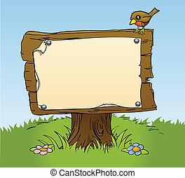 een, rustiek, houten, meldingsbord