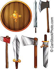 een, schild, zwaarden, en, assen