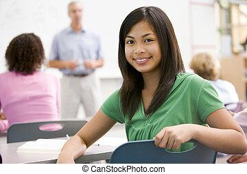 een, schoolgirl, in, een, secundair onderwijs, stand