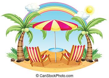 een, seashore, met, een, parasol, en, stoelen