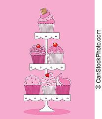 een, selectie, van, heerlijk, cupcakes