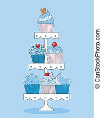 een, selectie, van, heerlijk, cupcakes.