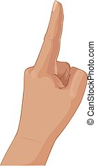 een, set, partij, vingers