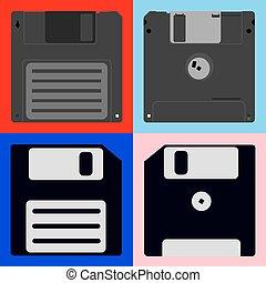 een, set, van, diskettes
