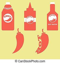 een, set, van, flessen