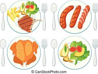 een, set, van, gezond voedsel
