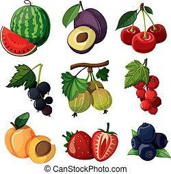 een, set, van, heerlijk, berries.