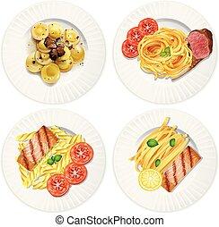 een, set, van, heerlijk, voedingsmiddelen