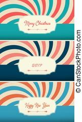 een, set, van, postkaarten, 2017, trend, slank